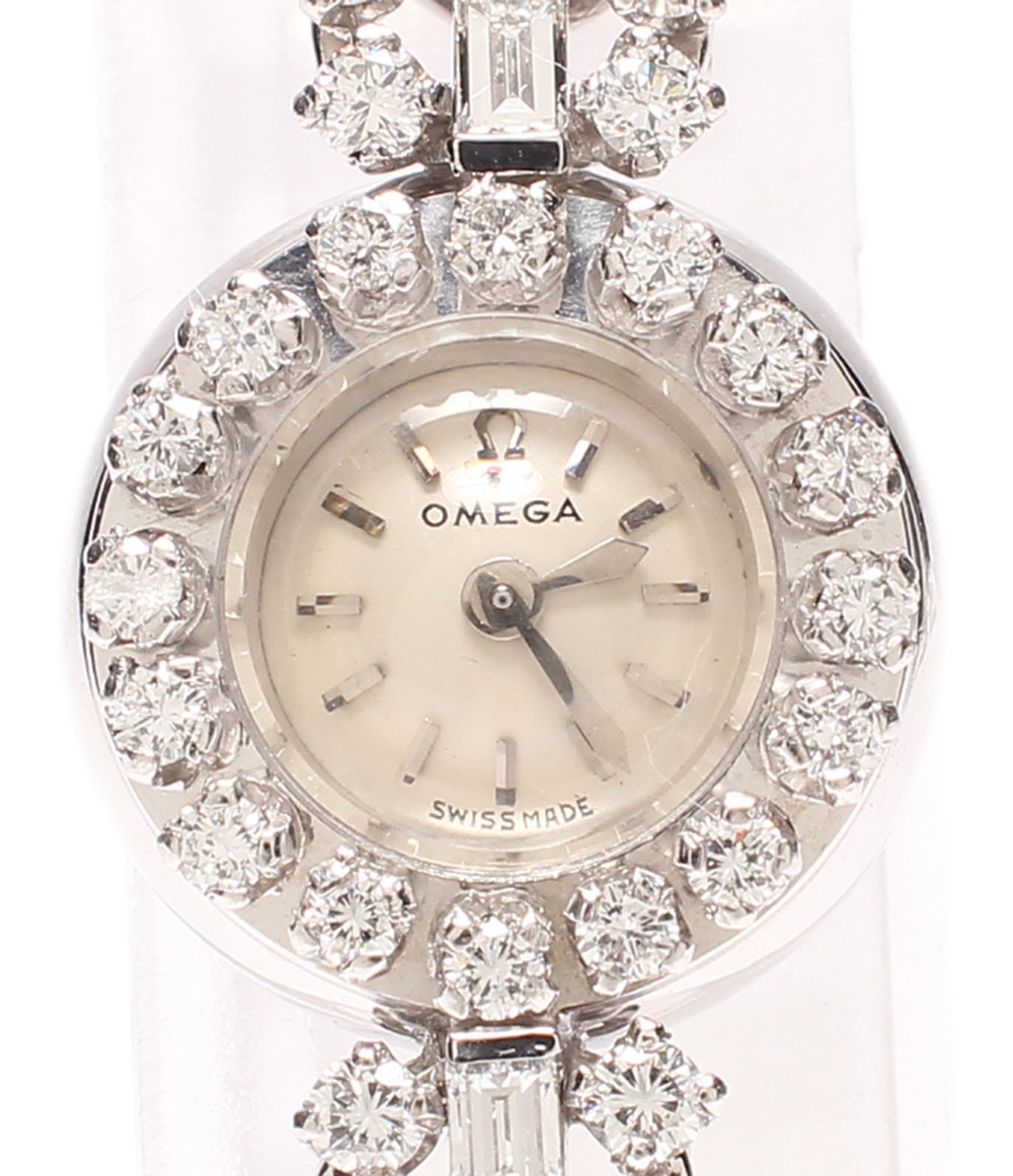 【中古】オメガ 腕時計 K18WG ダイヤ 手動巻き レディース OMEGA