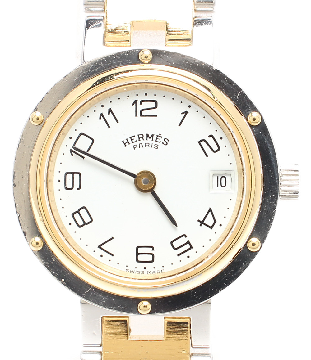 【中古】エルメス 腕時計 クリッパー クオーツ ホワイト 00713 レディース HERMES