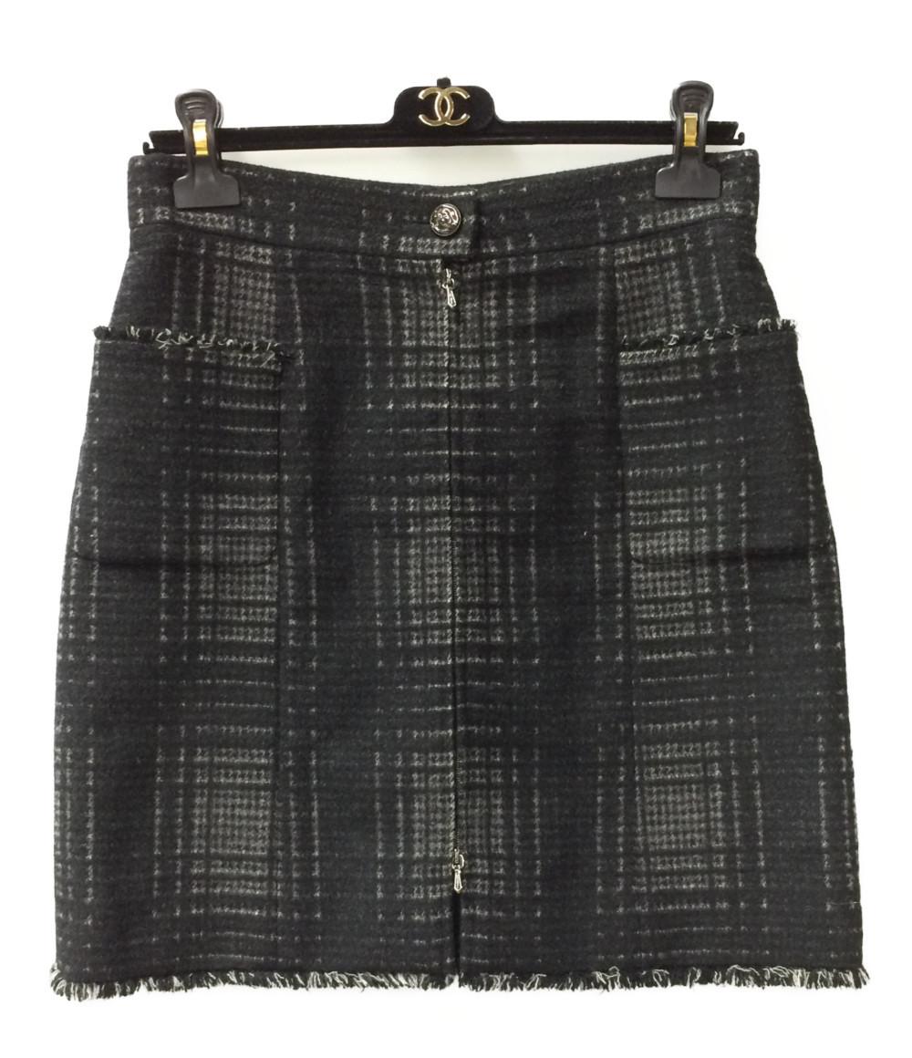 【中古】美品 シャネル フロントジップ スカート P41814 レディース SIZE 40 (M) CHANEL