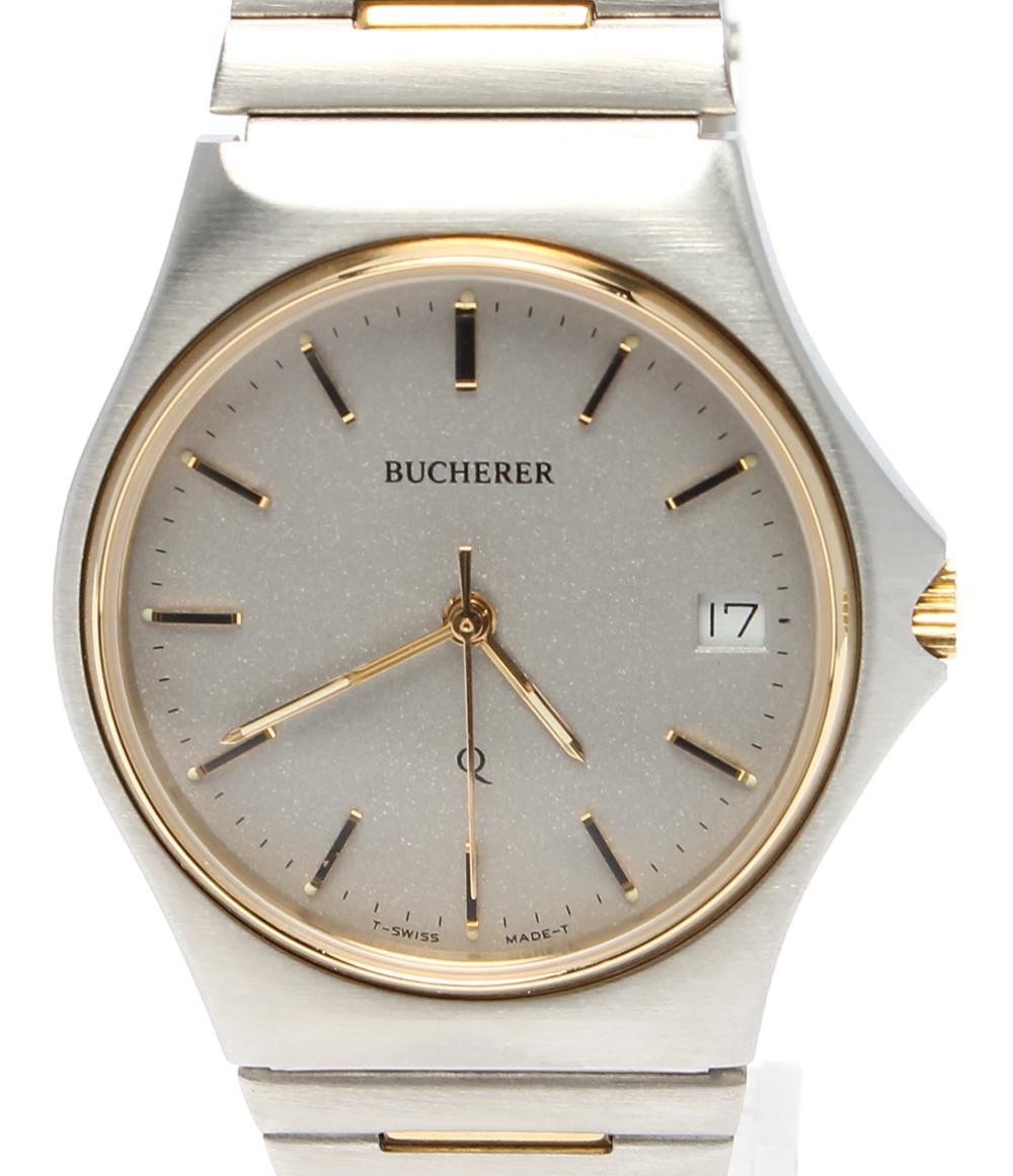 【中古】訳あり ブッフェラー 腕時計 クオーツ グレー メンズ BUCHERER