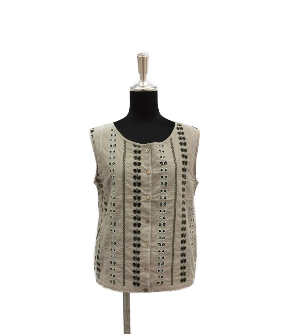 【中古】美品 ミナペルホネン 刺繍 ノースリーブ シャツ ブラウス レディース SIZE 40 (M) mina perhonen