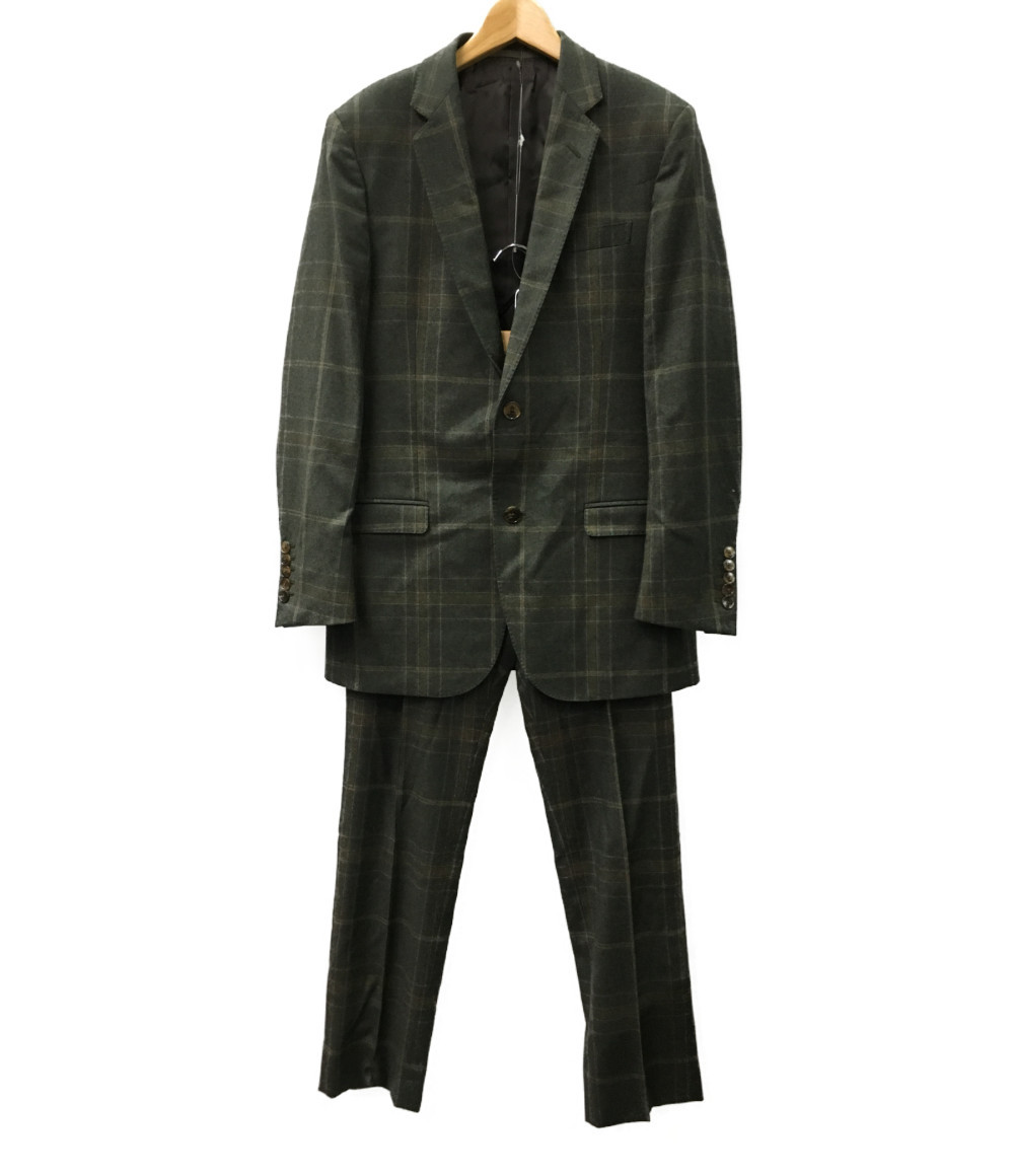 【中古】美品 グッチ ノッチドラペル 2Bスーツ チェック柄 メンズ SIZE 7-46R (M) GUCCI