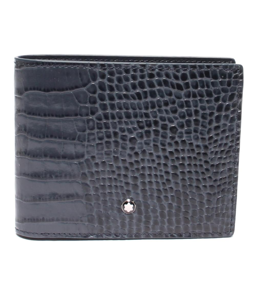 【5/5全品ポイント10倍】【中古】美品 モンブラン 型押しクロコ 二つ折り財布 メンズ Montblanc