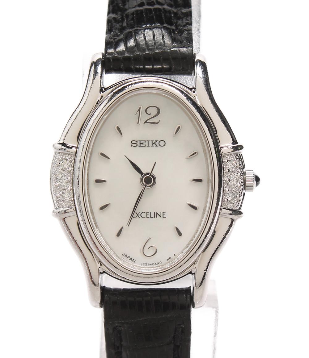 【中古】セイコー 腕時計 エクセリーヌ クォーツ ホワイト 1F21-5F50 レディース SEIKO