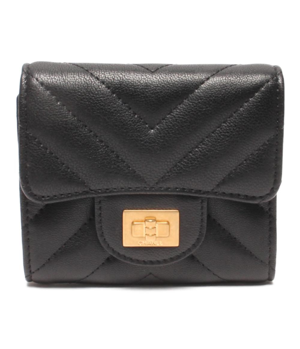 【中古】美品 シャネル 2.55 シェブロン スモールウォレット 三つ折り財布 Vステッチ レディース CHANEL