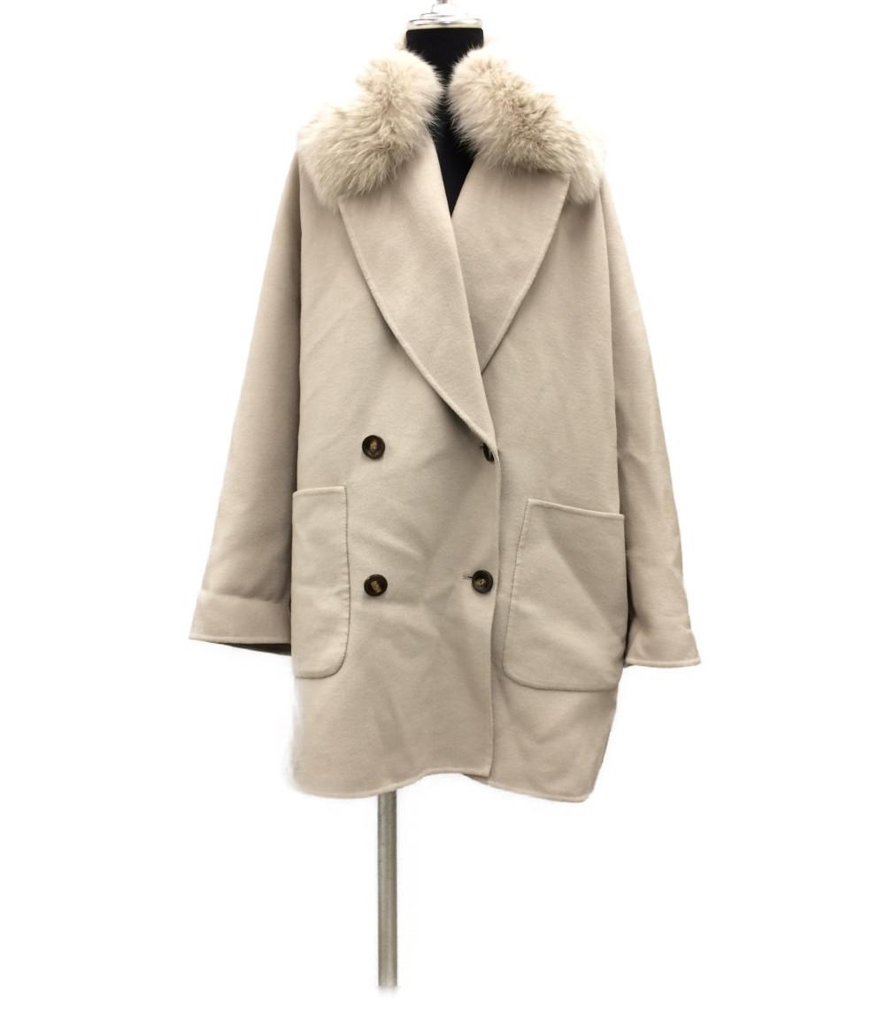 【中古】美品 アルマローザ フォックスファー付きウールコート レディース SIZE 40 (M) Alma Rosa coat