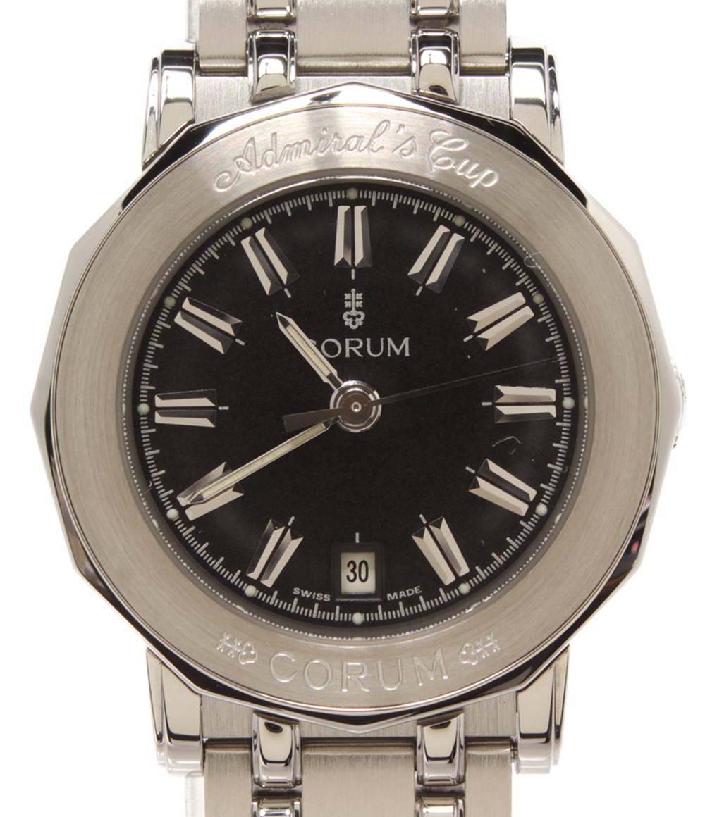 【中古】美品 コルム 腕時計 アドミラルズカップ クオーツ ブラック Ref.39.130.30 V585 レディース CORUM