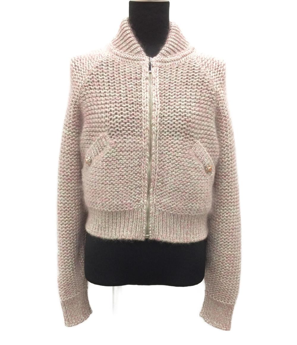 【中古】美品 シャネル 装飾 モヘア シルク混銀糸ジップセーター レディース SIZE 38 (M) CHANEL
