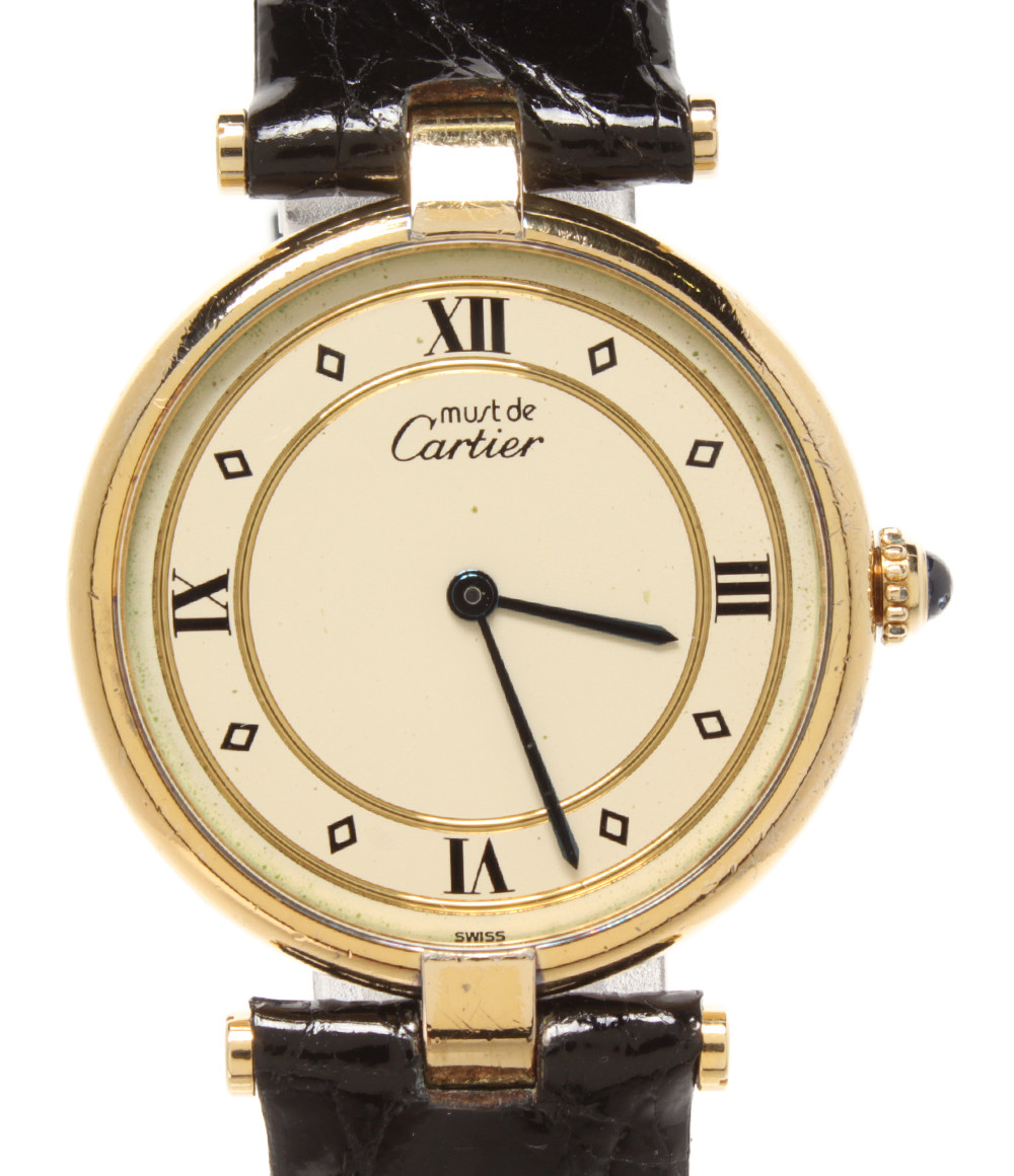【中古】カルティエ 腕時計 ヴェルメイユ クオーツ 590003 メンズ Cartier