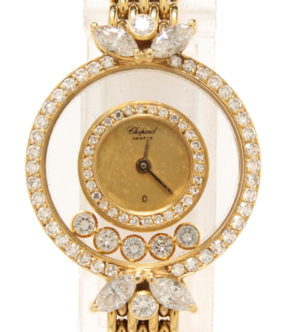 【中古】ショパール 腕時計 ハッピーダイヤモンド 5P ダイヤ クオーツ ゴールド 4066 レディース chopard