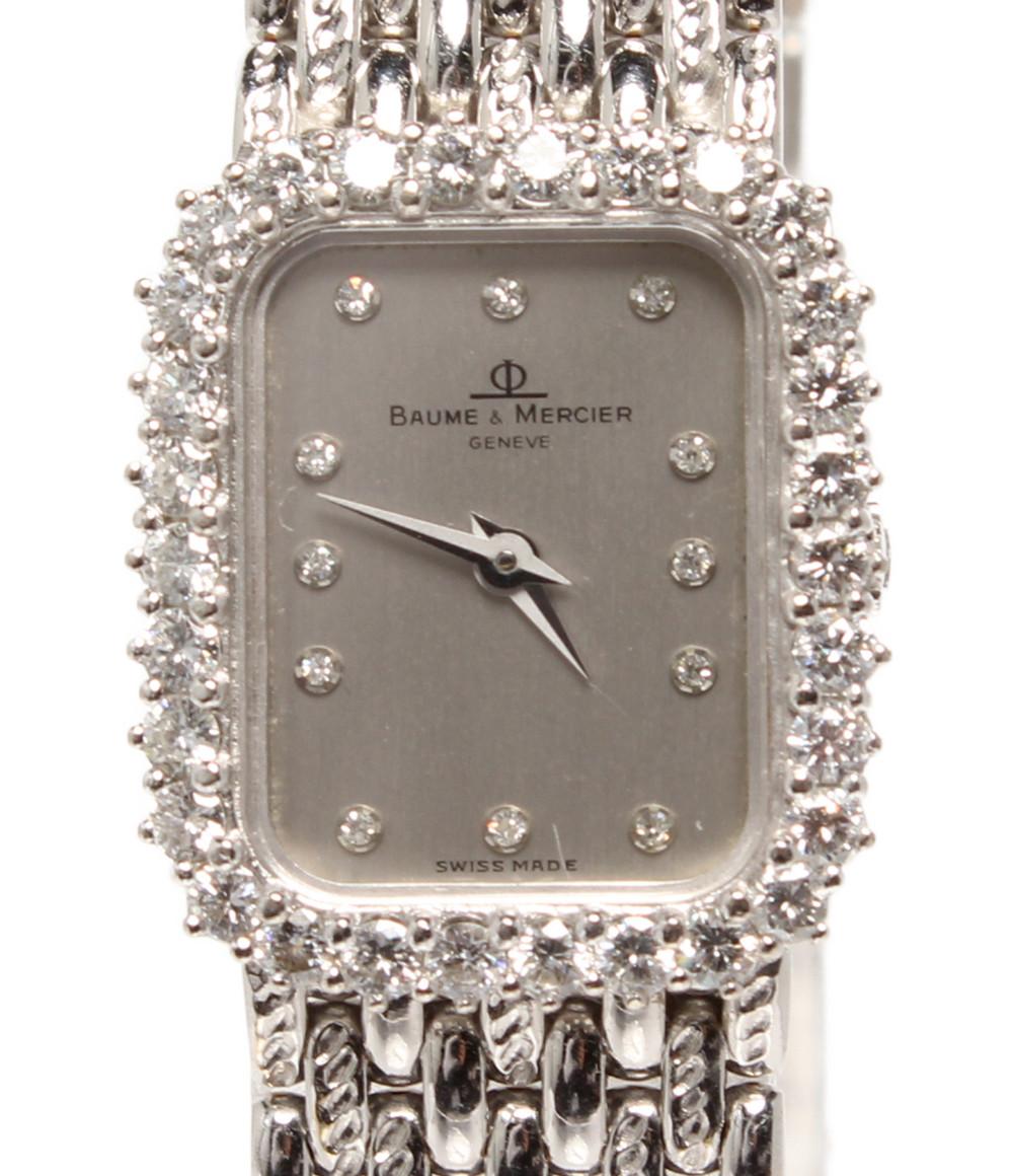 【中古】ボームアンドメルシエ 腕時計 18K ダイヤベゼル 12Pダイヤ クオーツ シルバー 18515 9 レディース BAUME&MERCIER