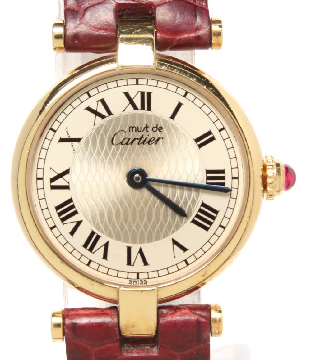 【中古】カルティエ 腕時計 マストヴァンドーム創業150周年限定 クオーツ W1010395 レディース Cartier
