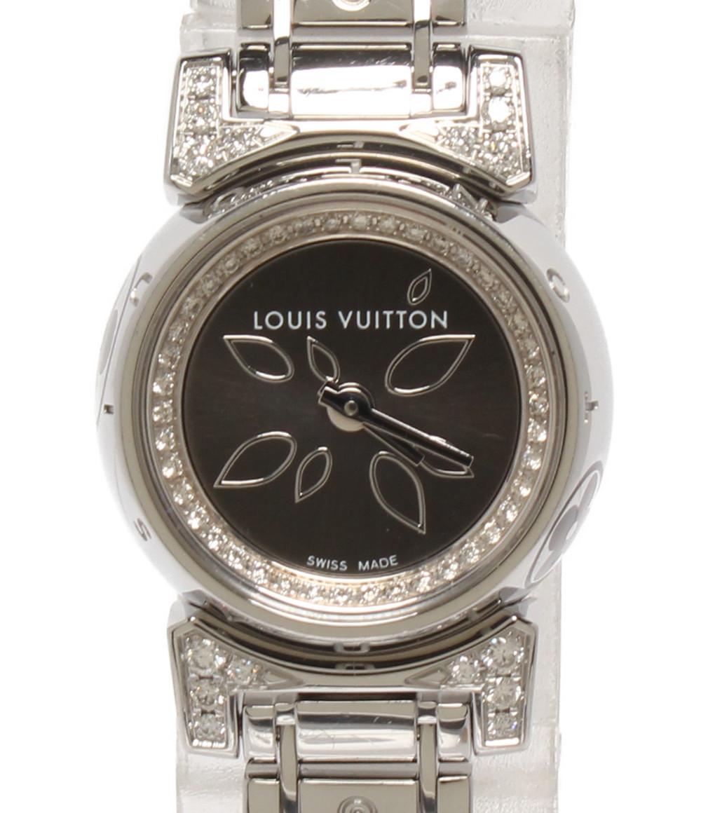 【中古】ルイヴィトン 腕時計 ダイヤ タンブール ビジュペタル クオーツ シルバー Q151G レディース Louis Vuitton