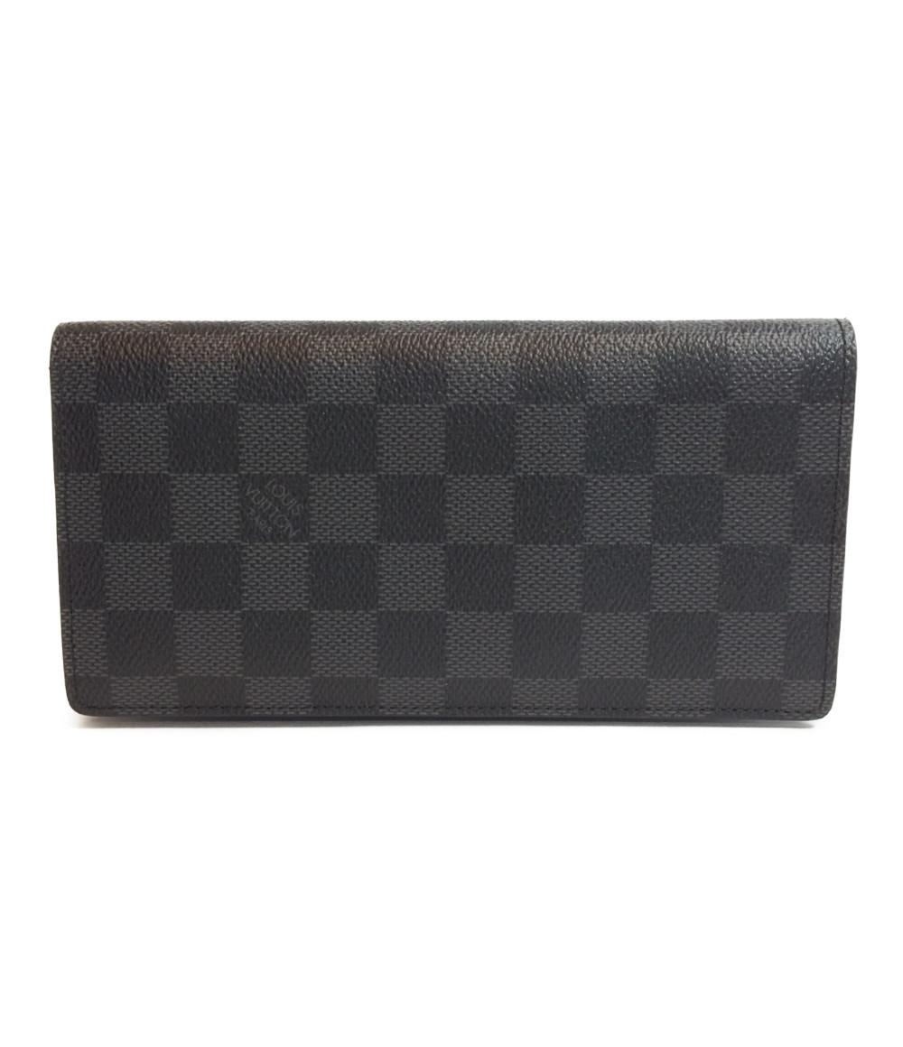 【中古】美品 ルイヴィトン 二つ折り長財布 ポルトフォイユ・ブラザ ダミエ・グラフィット N62665 メンズ Louis Vuitton