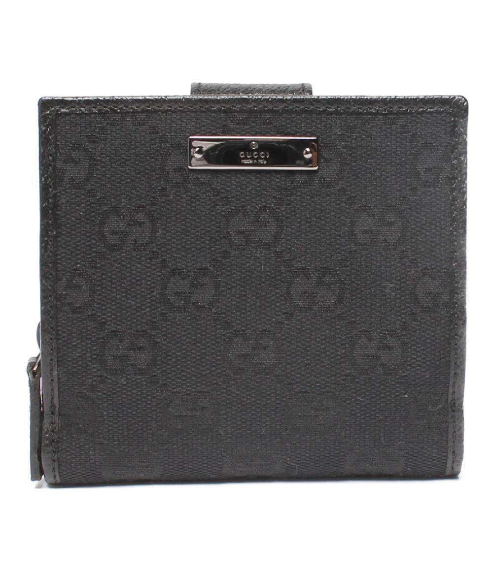 【中古】美品 グッチ 二つ折り財布 GGキャンバス・GGプラス 146568 レディース GUCCI