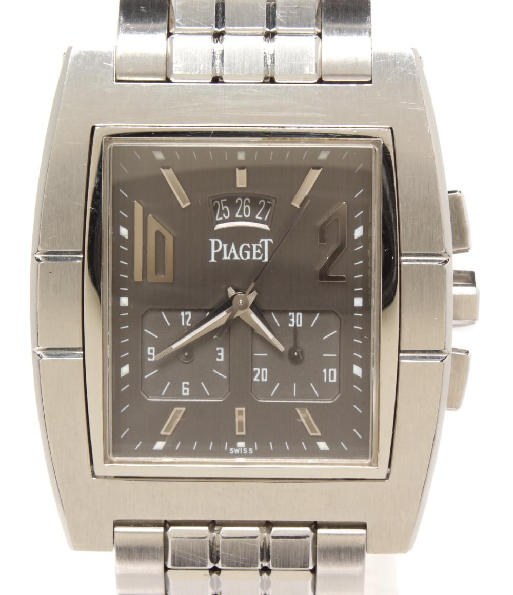 【中古】ピアジェ 腕時計 アップストリーム クオーツ グレー 27150 メンズ PIAGET