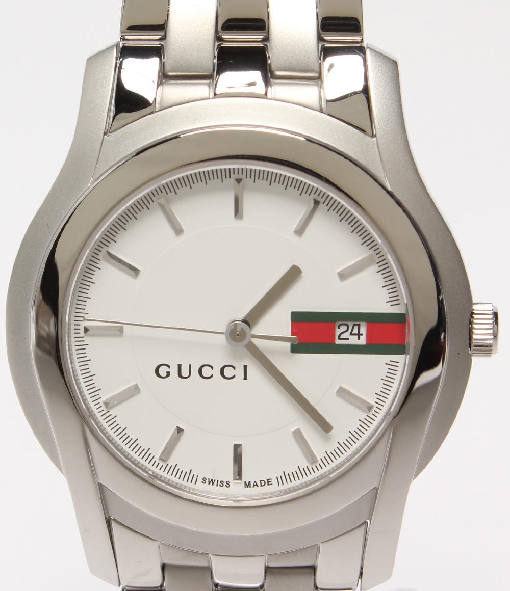 【中古】美品 グッチ 腕時計 クオーツ ホワイト 5500XL メンズ GUCCI