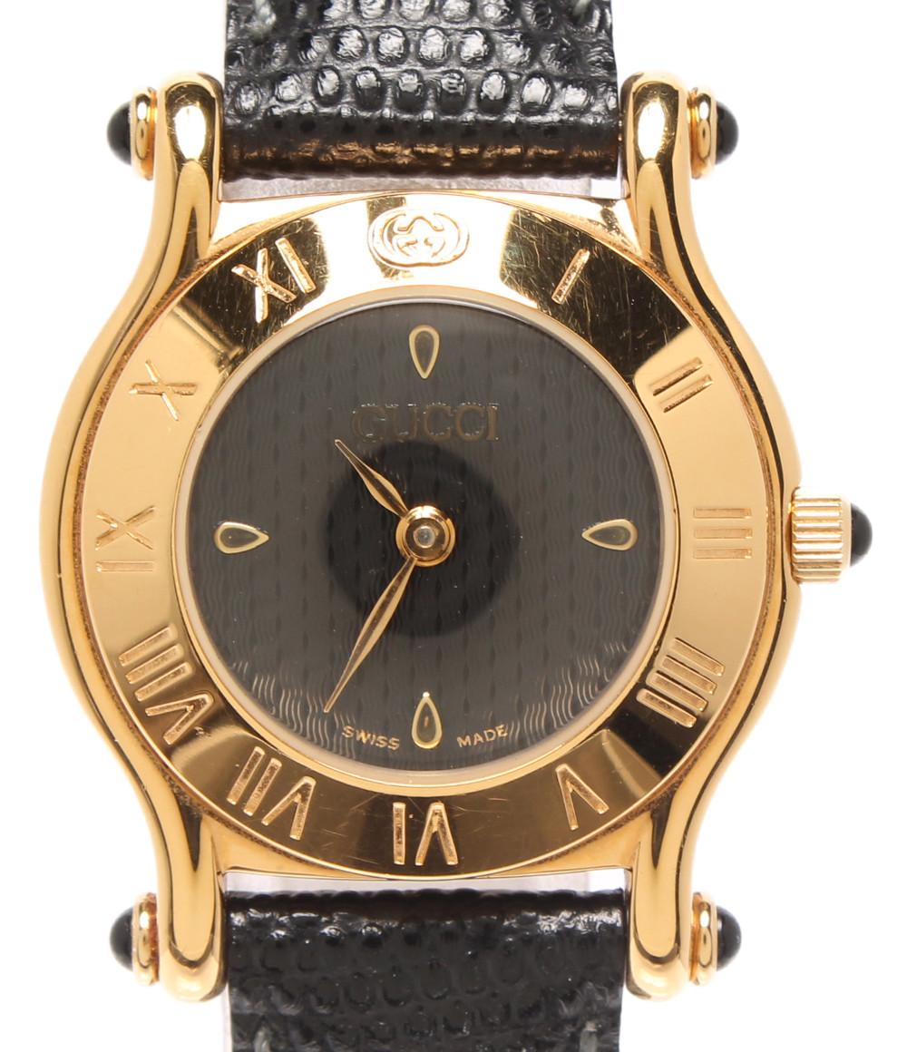 【中古】グッチ 腕時計 クオーツ ブラック 6500L レディース GUCCI