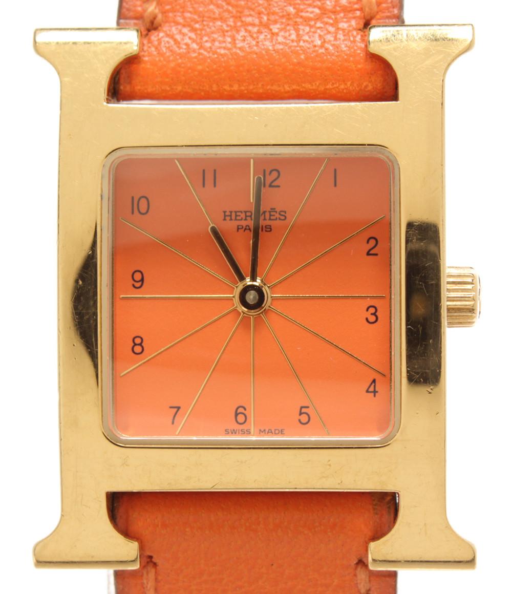 【中古】エルメス 腕時計 □B刻印 クオーツ オレンジ HH1.201 レディース HERMES