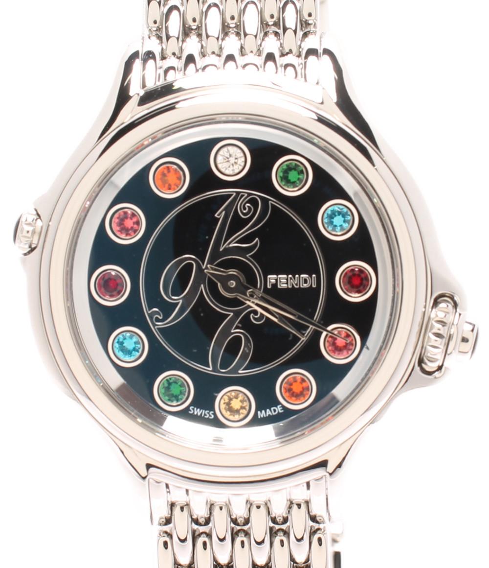 【中古】美品 フェンディ 腕時計 クレイジーカラット クオーツ ブラック 10500L レディース FENDI