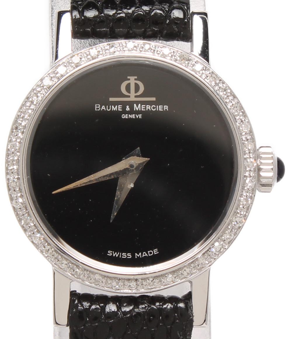 【中古】ボームアンドメルシエ 腕時計 手巻き ブラック 36634-50 レディース BAUME&MERCIER