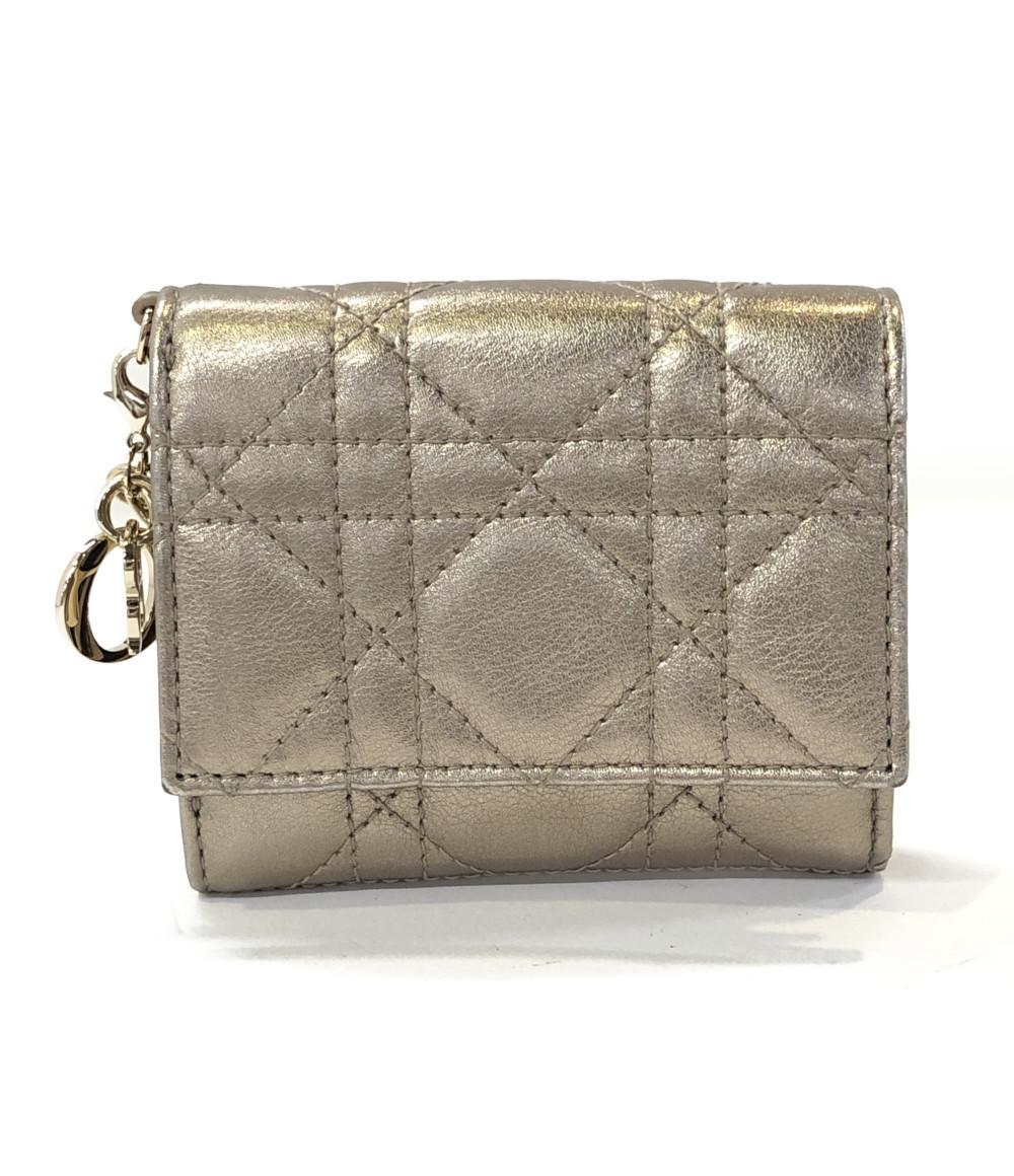 Dior Christian 【中古】クリスチャンディオール レディース レディディオール 三つ折り財布
