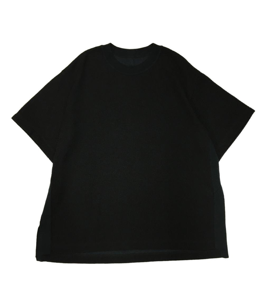 ※実店舗から直送のため 同梱不可 代金引換不可 ※ 中古 美品 カズユキクマガイアタッチメント ダブルフェイスニットTシャツ メンズ XXL 売買 ブラック KUMAGAI KAZUYUKI 21SS SIZE 1年保証