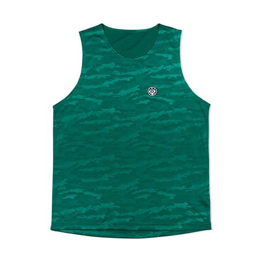 HXB【CAMO EMBOSS MESH TANKTOP】Green バスケットボール バスケ タンクトップ プラクティス バスケウェア
