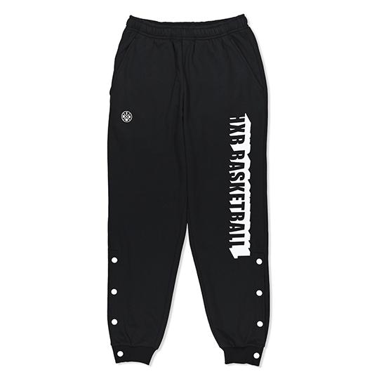 バスケットボールブランド HXB エイチエックスビー 当店は最高な サービスを提供します SWEAT PANTS BEVEL バスケットボール BLACK スウェットパンツ 低廉 LOGO 裾ボタン付き
