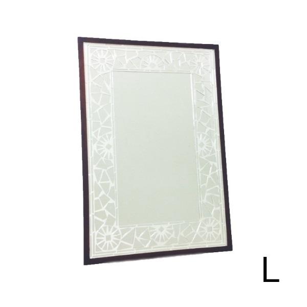 HUGオリジナル Mosaic Mirror モザイクミラー シルバー L インテリア・寝具・収納 鏡 鏡 壁掛け 角型