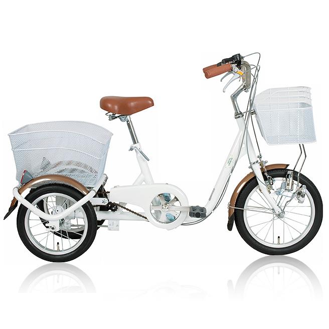 三輪 自転車 ロータイプ MIMUGO MG-TRE16SW ホワイト ブルー 2色より [直送品]