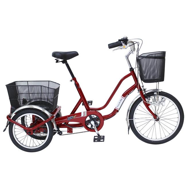 ノーパンク 三輪 自転車 MIMUGO MG-TRW20NE SWING CHARLIE ノーパンク三輪自転車 20インチ三輪自転車 ワインレッド [直送品]