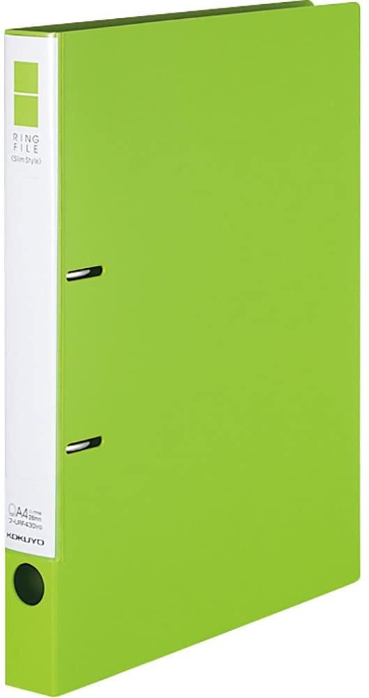 背幅が従来品より約15%コンパクトになったリングファイルです 高価値 コクヨ リングファイル スリムスタイル A4S 1コ入 220枚収容 賜物 フ-URF430YG 黄緑