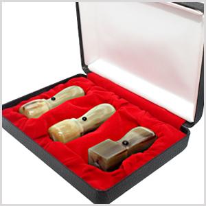 ネコポス無料 印鑑セット 水牛オランダ水牛[中色]3本セット天丸 実印18.0mm+銀行印16.5mm+角印21.0mm 高級印鑑ケース付 宅配便発送