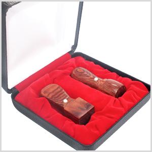 赤彩樺 2本セット 銀行印[天丸]16.5mm+角印21.0mm 高級印鑑ケース付 宅配便発送