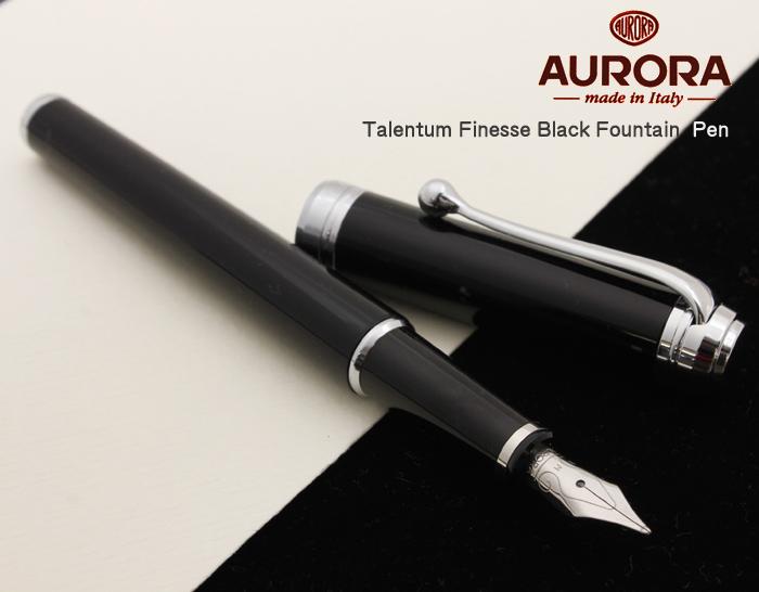【AU11-B】【AURORA/アウロラ】タレンタム フィネス 万年筆 ブラック樹脂ボディ クラシカルボディとアラベスク模様のペン先 ペン先14金 スリムタイプ実用的な万年筆を求める方にぜひ!【即納/送料無料】
