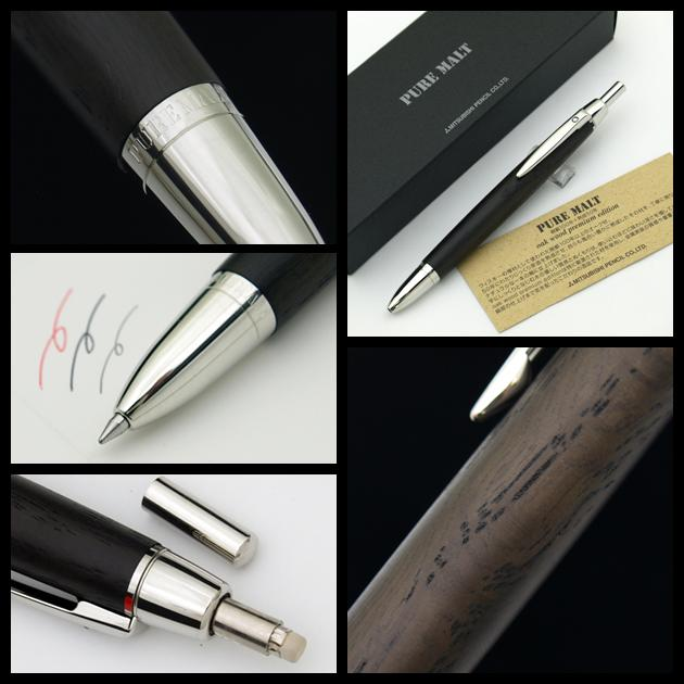 It is malt whiskey Oakwood premium edition MSE-3005 black, two colors of red ball-point pen / mechanical pencils 3 function triple pens J nature oak barrel materials use