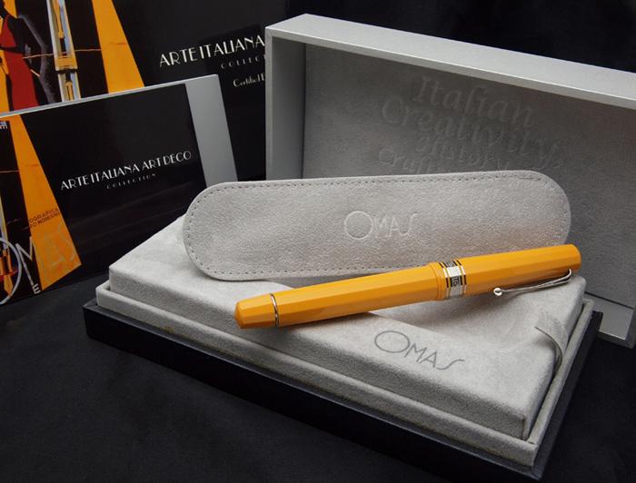 Limited Edition Arte Italiana Art Deco fountain pen black / yellow / red F (fine) / m (in romaji)