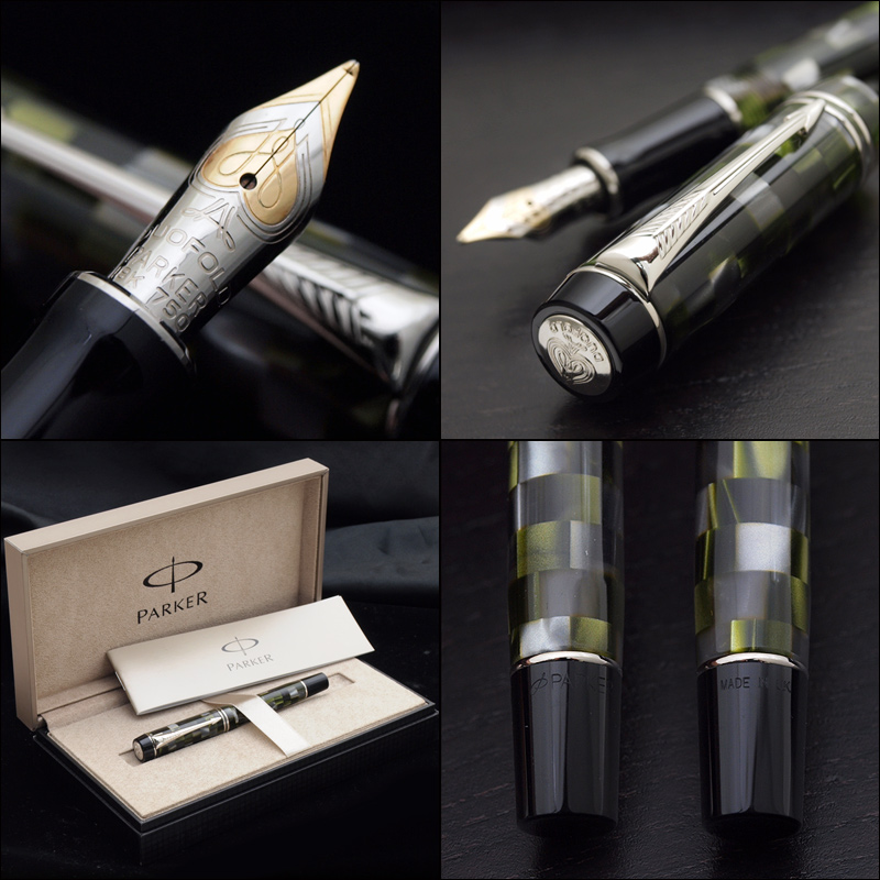 Duofold 黛咪检查绿色 18 k 金钢笔 / 铂板单元格完美的大小