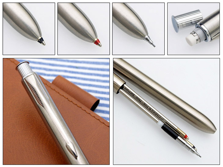 Multifunctional pen with built-in insignia multi-function pen stainless steel 3 CT