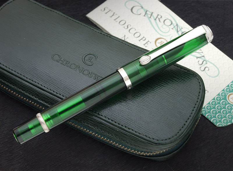 StyloScope Chronoswiss company 20th anniversary commemorative model M800 green skeleton fountain pen 18 k gold nib M (in characters ) + B (bold) 2 species set Germany luxury mechanical watches brand special order products