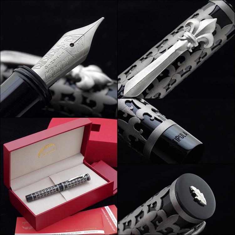 弗勒德松鼠世界 38 限量版钢笔 TI T-Flex 黑色树脂 F (细) 活塞填料优雅和迷人的豪华模型百合花卉图案。