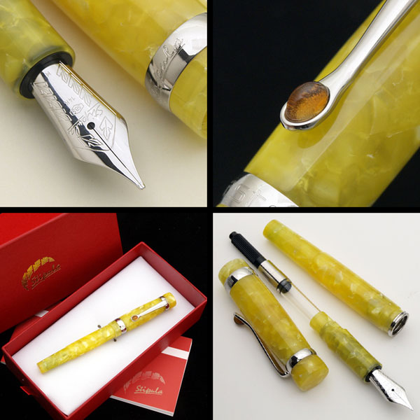 The jewel of Italy! Sicilian lemon! Citrino / citrine Remon and citrine 14 gold fountain pen f/m