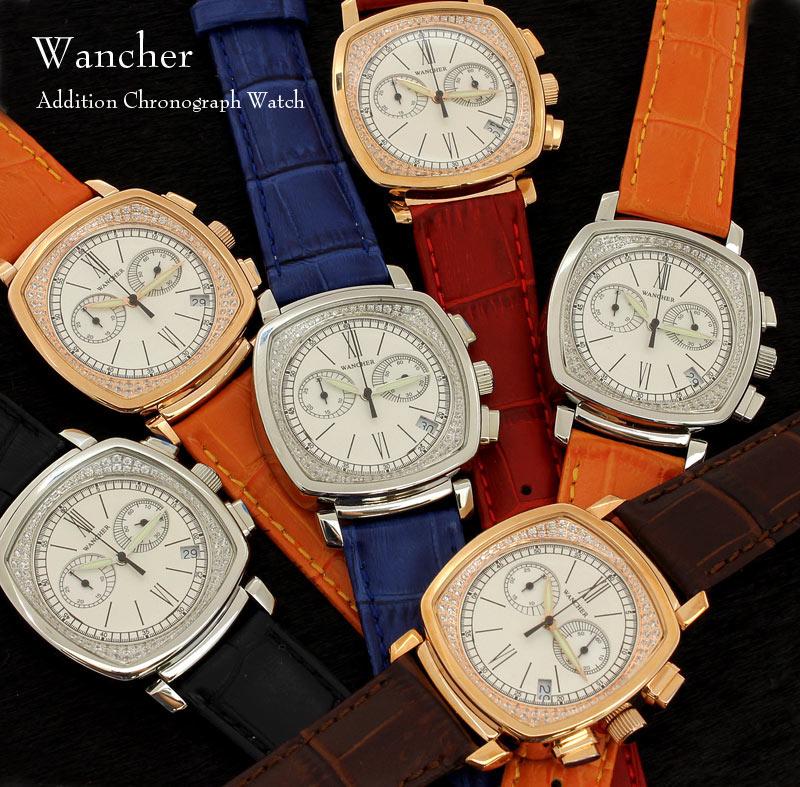 【942】【WANCHER/ワンチャー】【腕時計】Addition watchアディション クロノグラフウォッチ本物のスワロフスキーを埋め込んだ!スイス伝統デザイン【即納/送料無料】