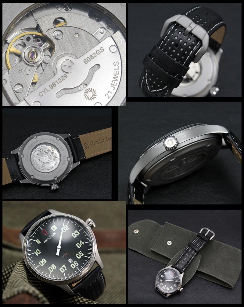 机械自动日期 Z 黑色表盘驾驶舱零一只手手表小批量生产模式