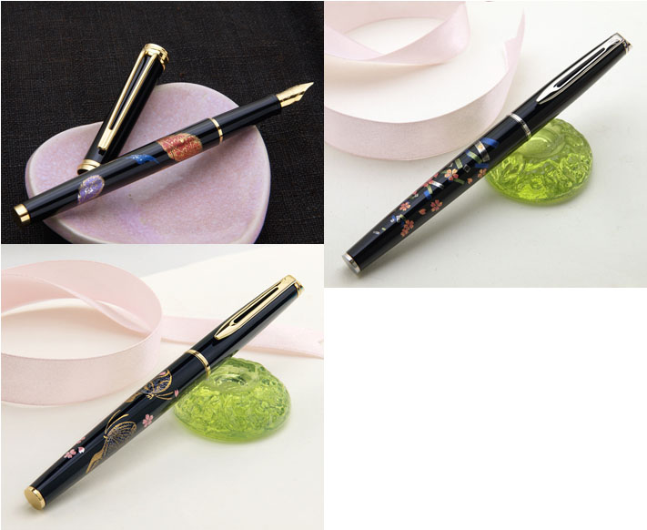 """wancha特别限定的型号近代加贺泥金画钢笔型号:""""羽毛""""(和声型号)/""""樱花和长条诗笺""""和""""蝴蝶对初次使用笔的樱花""""(大都会型号)F(细字)/M(中的字)水人员的!"""