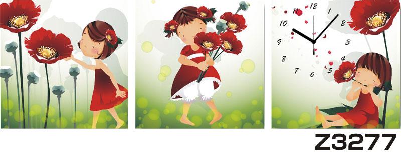 日本初!300種類以上のデザインから選ぶパネルクロック◆3枚のアートパネルの壁掛け時計◆hOur DesignZ3277【花】【代引不可】 送料無料