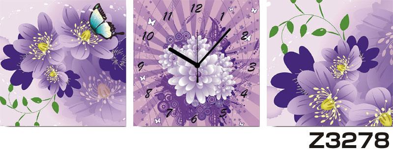 日本初!300種類以上のデザインから選ぶパネルクロック◆3枚のアートパネルの壁掛け時計◆hOur DesignZ3278【花】【代引不可】 送料無料