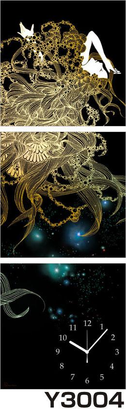 アジアデジタルアート大賞入賞者がデザインしたパネルクロック◆3枚のアートパネルの壁掛け時計◆hOur Design Y3004【Kaori Adachi】【安達香織】【代引不可】 送料無料