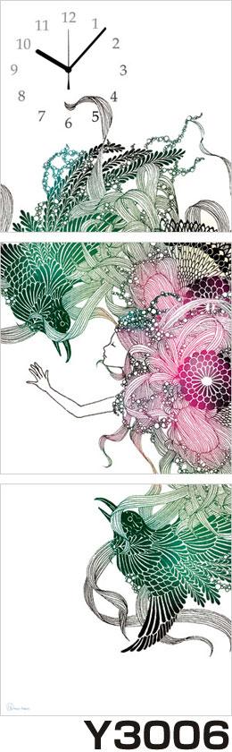 アジアデジタルアート大賞入賞者がデザインしたパネルクロック◆3枚のアートパネルの壁掛け時計◆hOur Design Y3006【Kaori Adachi】【安達香織】【代引不可】 送料無料